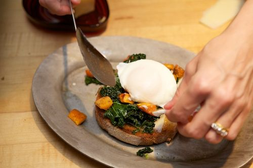 Sauted Kale, Roasted Sweet Potato and Poached Egg Holiday Toast