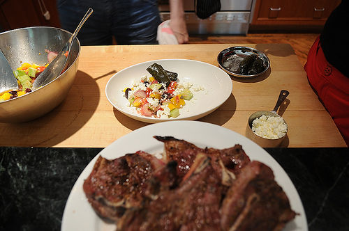 Grilled Blade Chops over Greek Salad