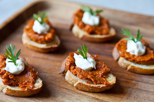 Roasted Carrot Harissa and Crme Fraiche Crostini 