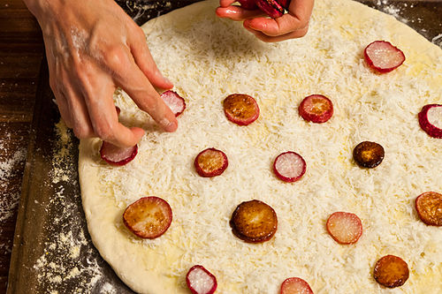 Cacio e Pepe Pizza with Roasted Radishes