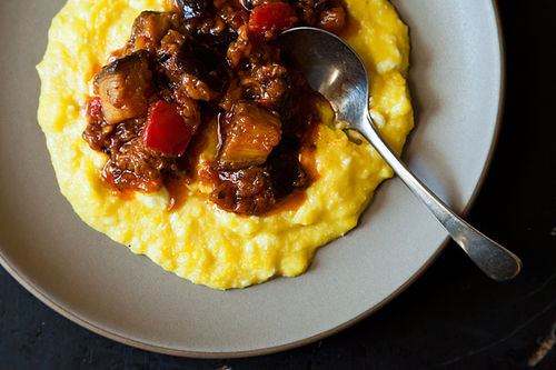 polenta with corn and parmesan corn peach tomato over grilled polenta ...