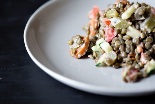 Smoked Lentil Salad with Sriracha Miso Mayonnaise