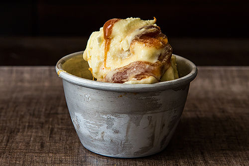 Olive Oil-Saffron Ice Cream with Burnt Orange Caramel Swirl