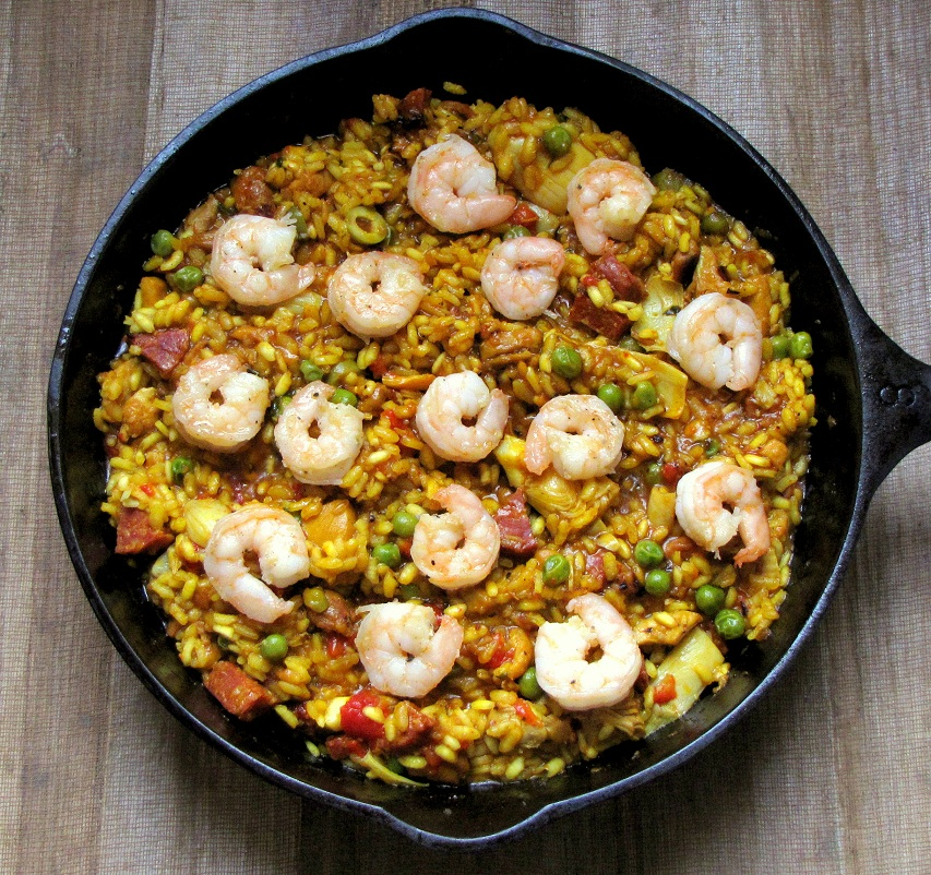Mixed Paella with Chicken, Chorizo and Shrimp