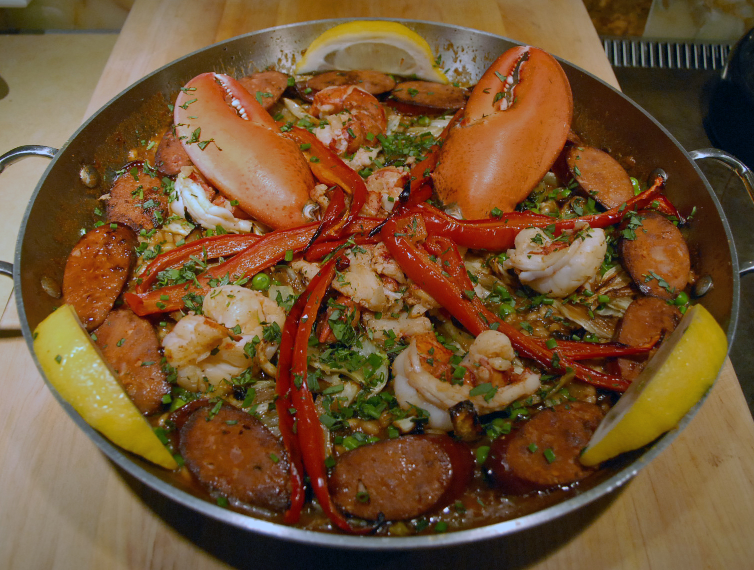 Lobster, Fennel and Chourizo Paella