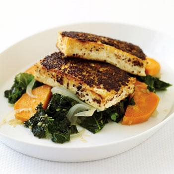 Mustard-Crusted Tofu with Kale and Sweet Potato