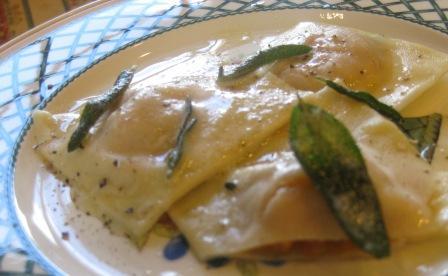 Butternut squash ravioli with crispy sage butter sauce
