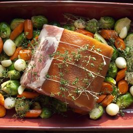 Applewood Smoked Bacon Rind Barded Pork Loin Roast with Fall Vegetables