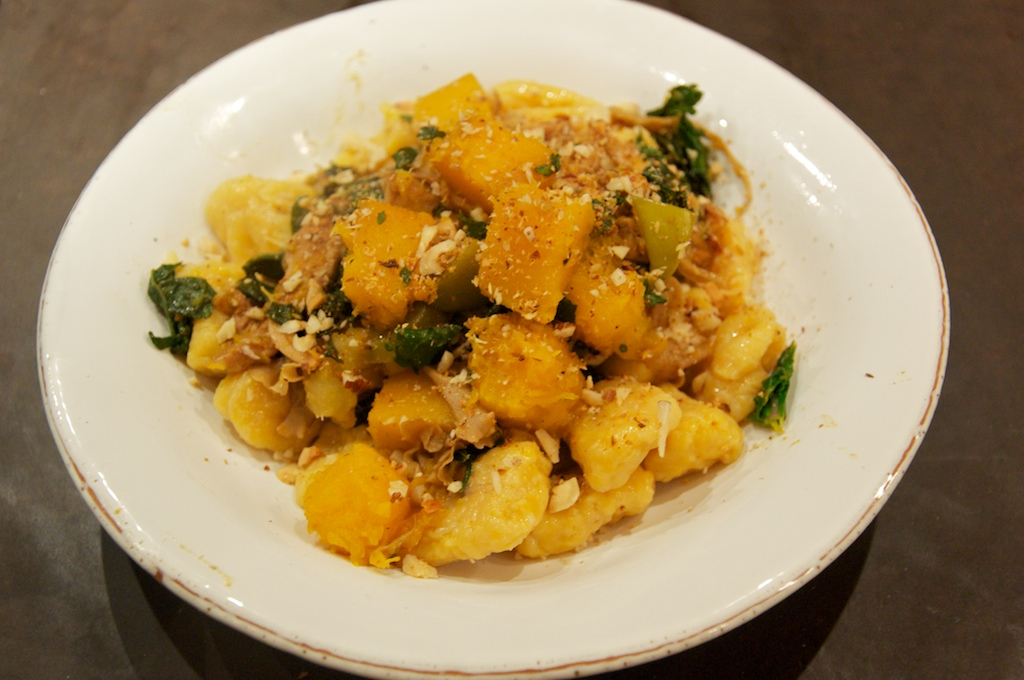 Butternut Squash Gnocchi with Satueed Butternut Squash, Wild Mushrooms, Sage and Hazelnuts