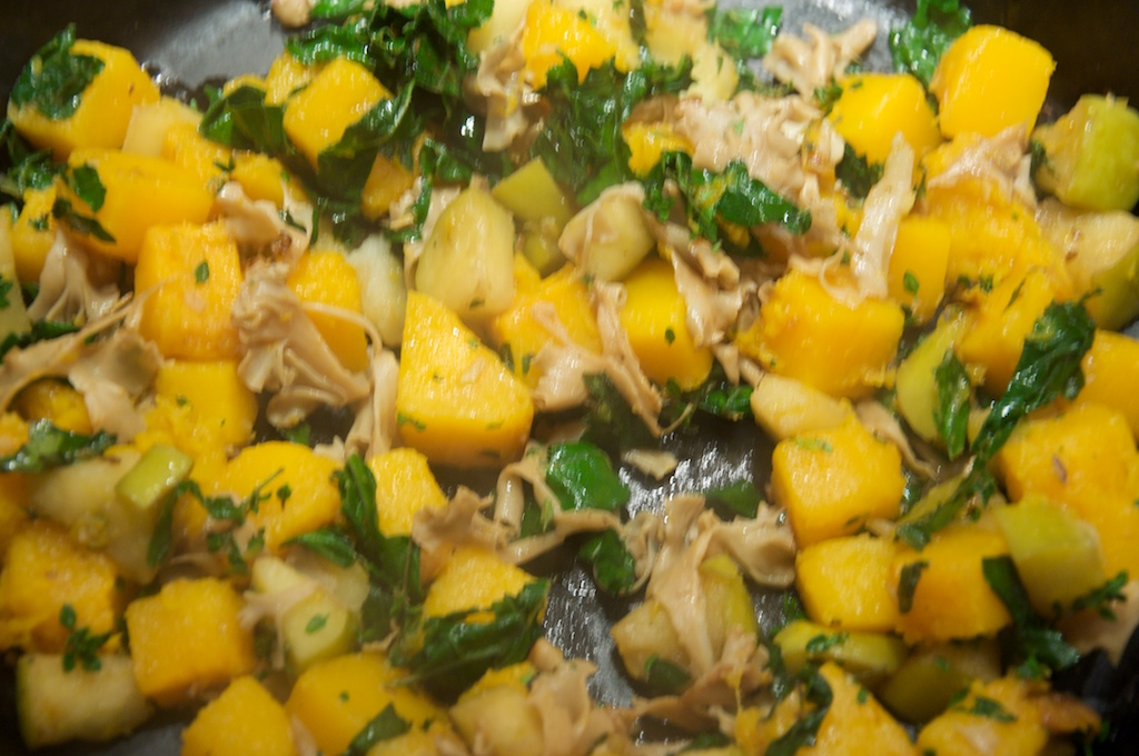 Butternut Squash Gnocchi with Satueed Butternut Squash, Wild Mushrooms, Sage and Hazelnuts