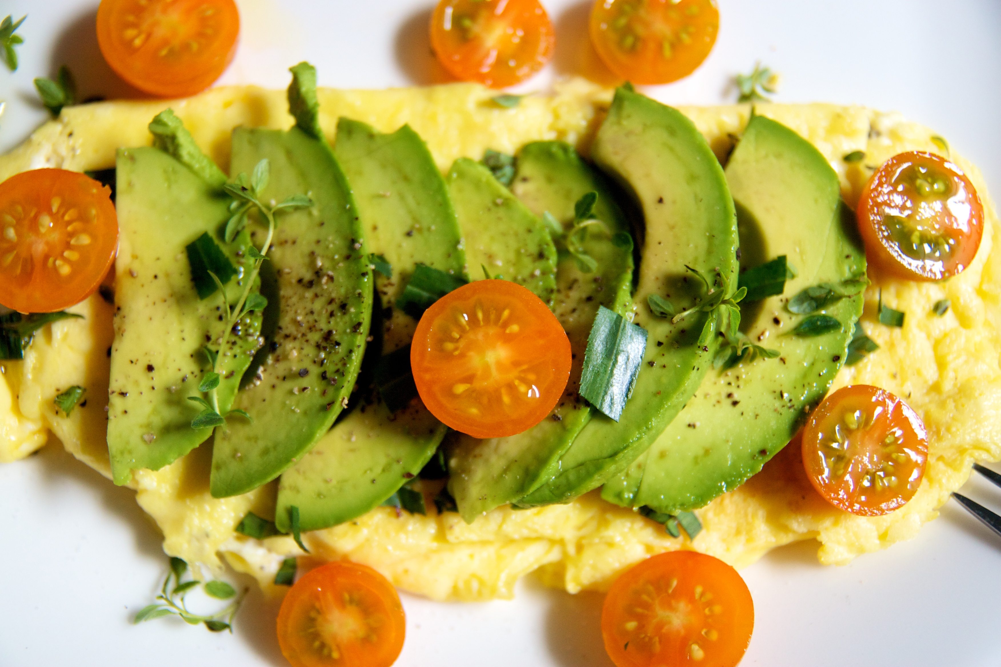 Fresh Herb & Goat Cheese Omelet with Avocado & Pear
