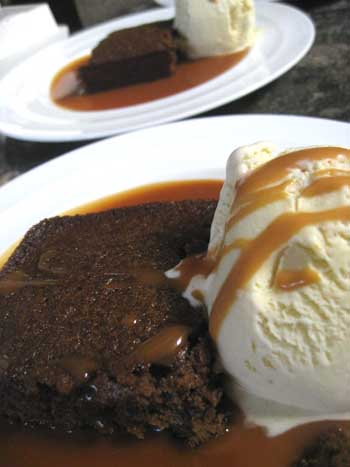 Warm Gingerbread With Pear Ice Cream and Caramel Sauce