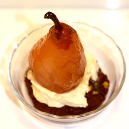 Pacherenc-Poached Winter Pears with Dark Chocolate & Salted Pistachio Cookies