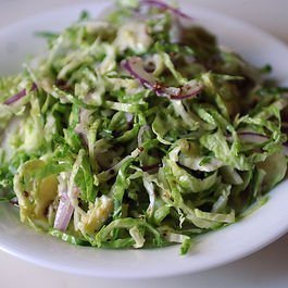 Shaved Brussels Sprout Salad with Red Onion, Lemon and Pecorino