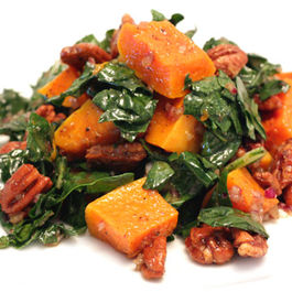 Kale Salad with Roasted Butternut Squash and Spiced Pecans