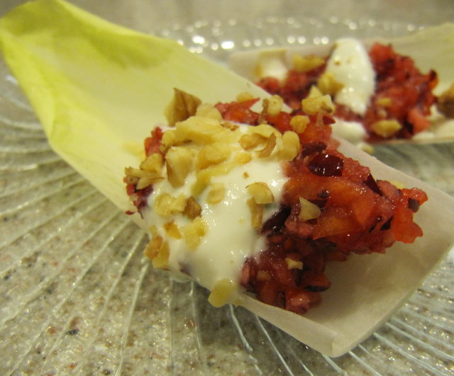 Cranberry and Persimmon Filled Endive with Tangy Goat Cheese Dressing
