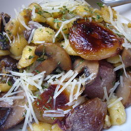 Browned Crispy Spaetzle with Caramelized Shallots and Mushrooms
