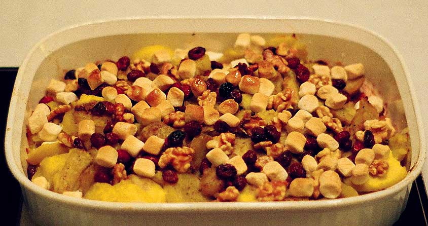 Candied Sweet Potatoes with Walnuts, Cranberries, and Marshmallowettes