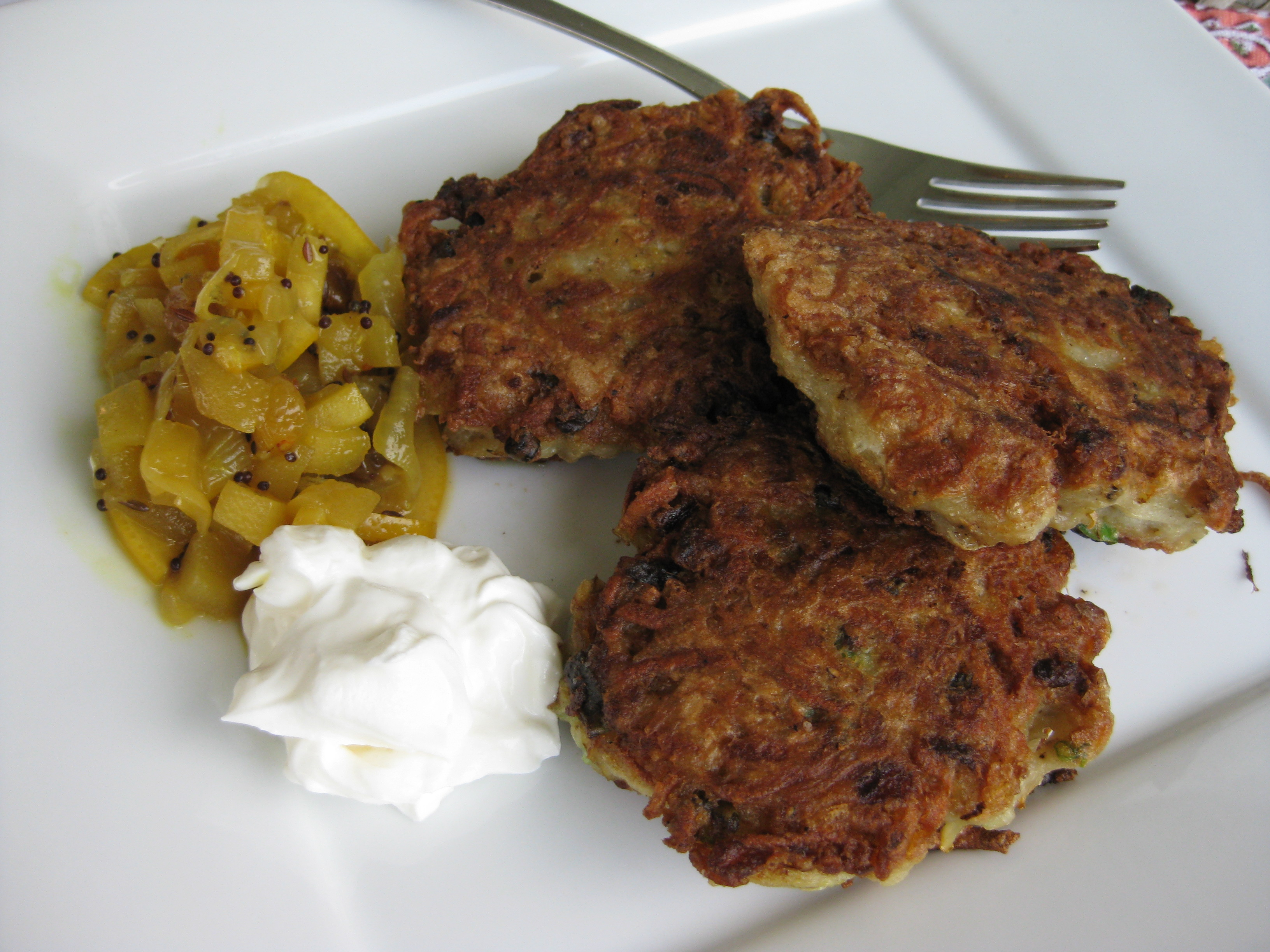 Duck Fat Fried Latkes with Apple Lemon Chutney