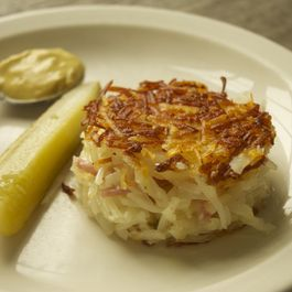 Potato Pancakes with Ham, Gruyere and Fennel
