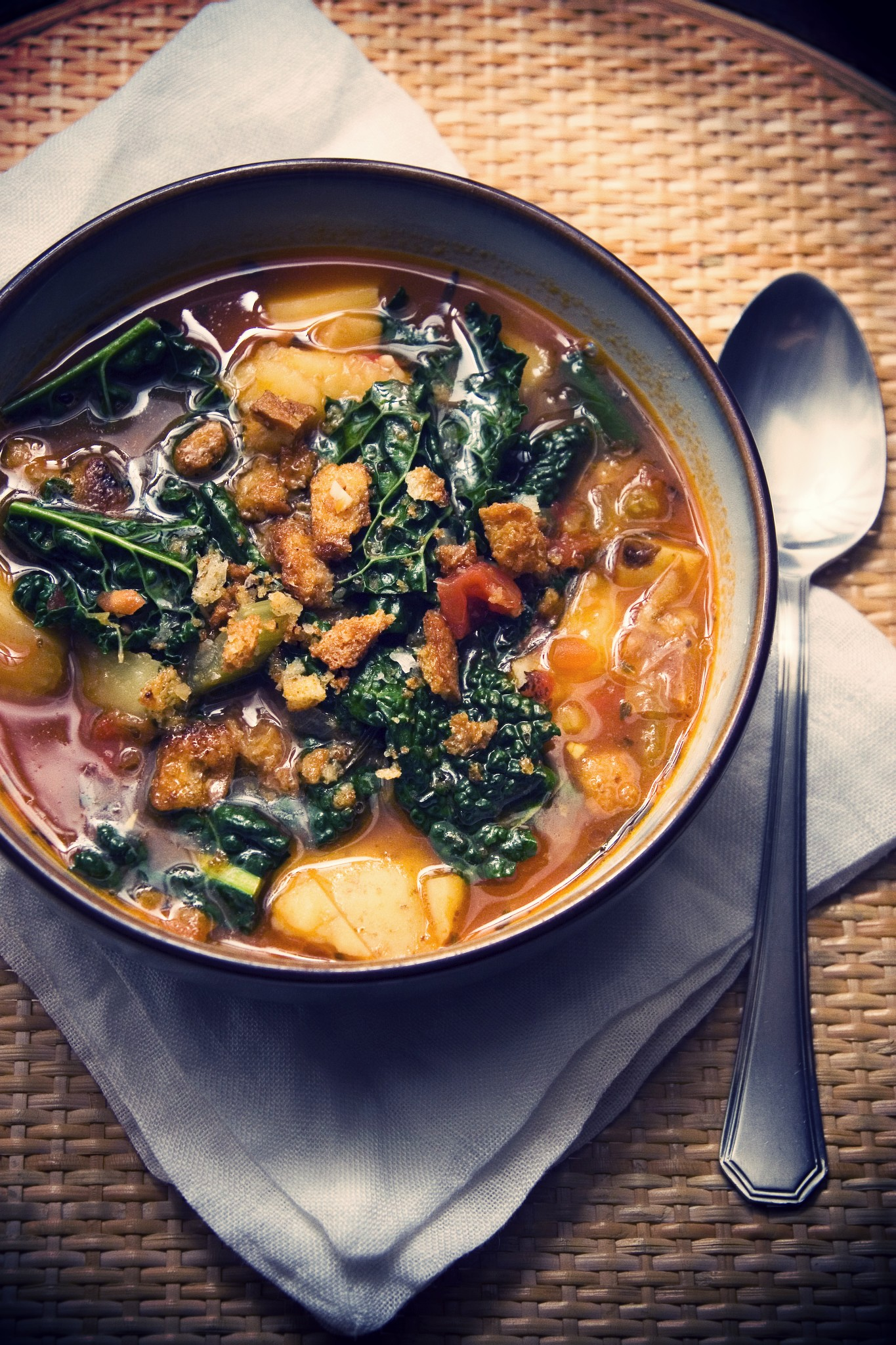 Roasted Tomato & Rosemary Soup with Kale & Potatoes