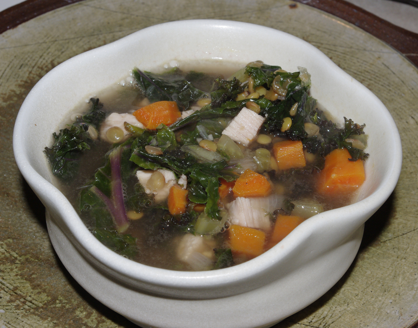 Lentil and Smoked Turkey Soup with Purple Kale