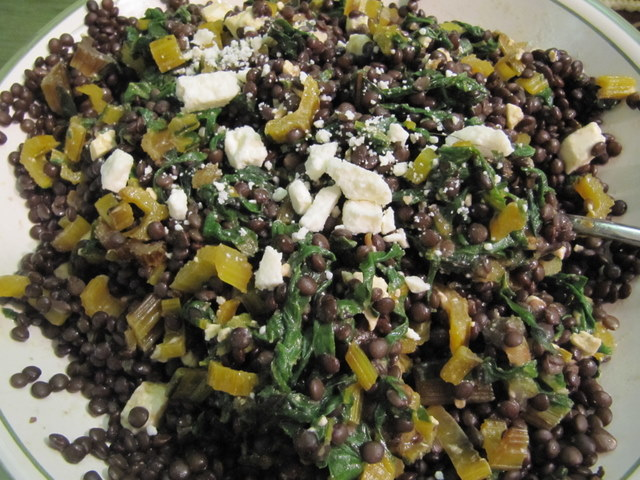 Swiss Chard With Lentils And Feta Cheese Recipe — Dishmaps