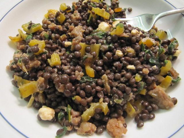 Warm Lentil Salad with Swiss Chard, Feta and Red Wine ...