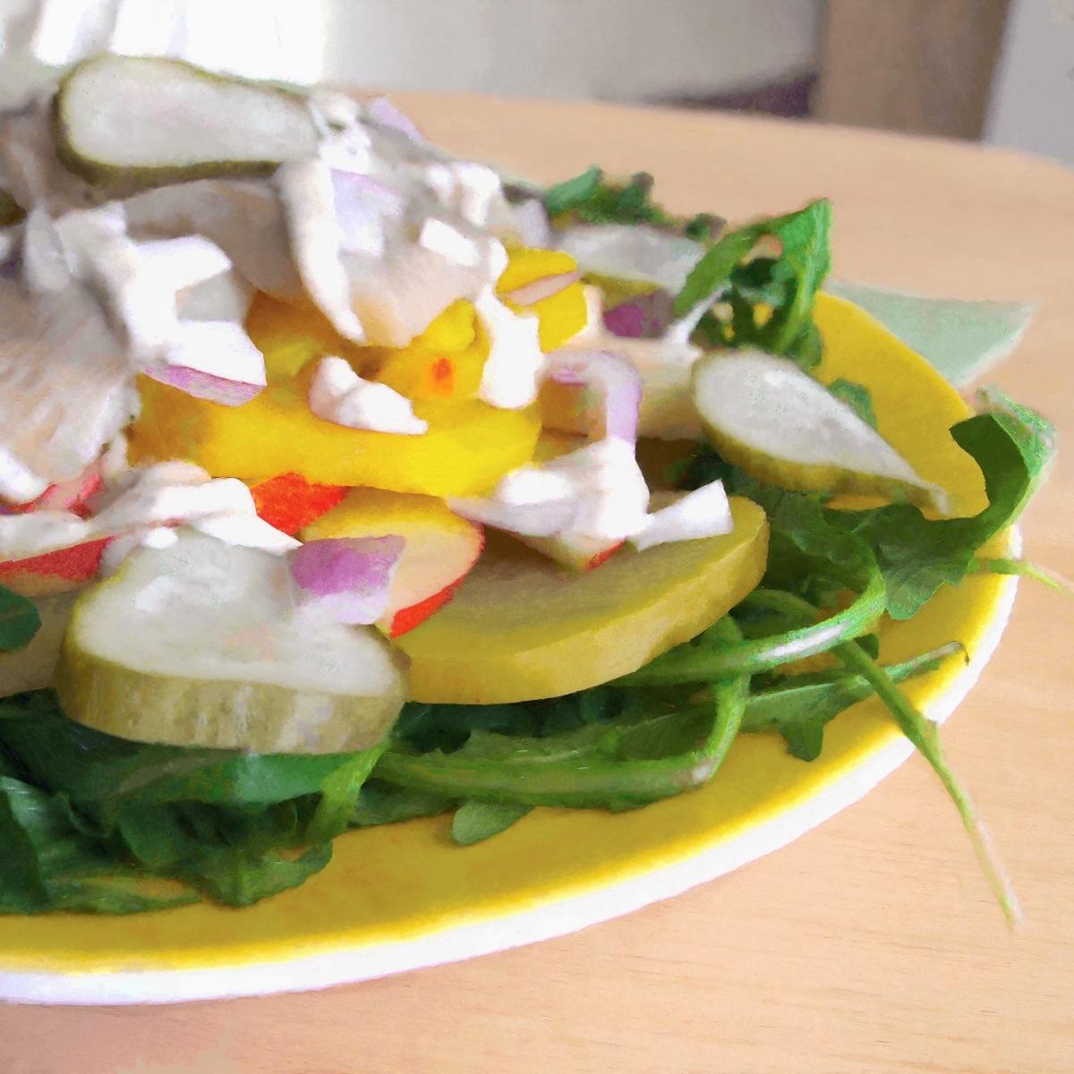 Herring, Apple, and Beet Salad with Horseradish-Sour Cream Dressing