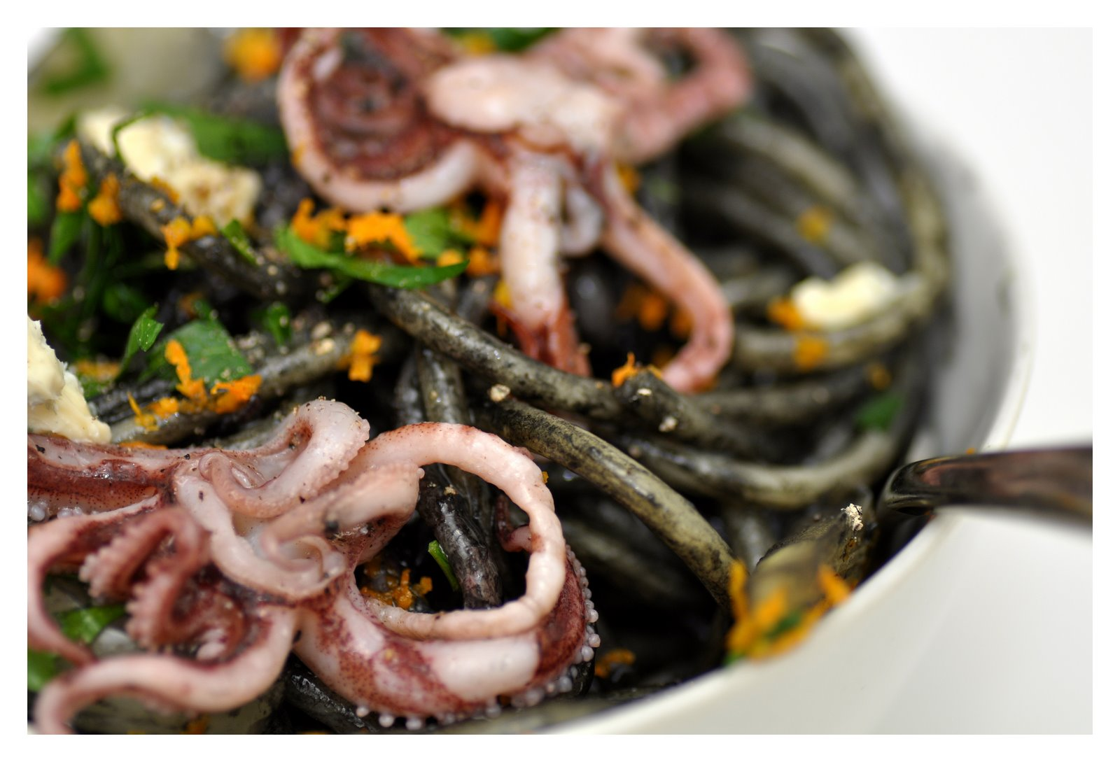 Pasta with Squid Ink, Orange-Braised Fennel and Tentacles Recipe on ...