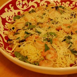 Capellini with Shrimp, Drunken Cherries and Basil
