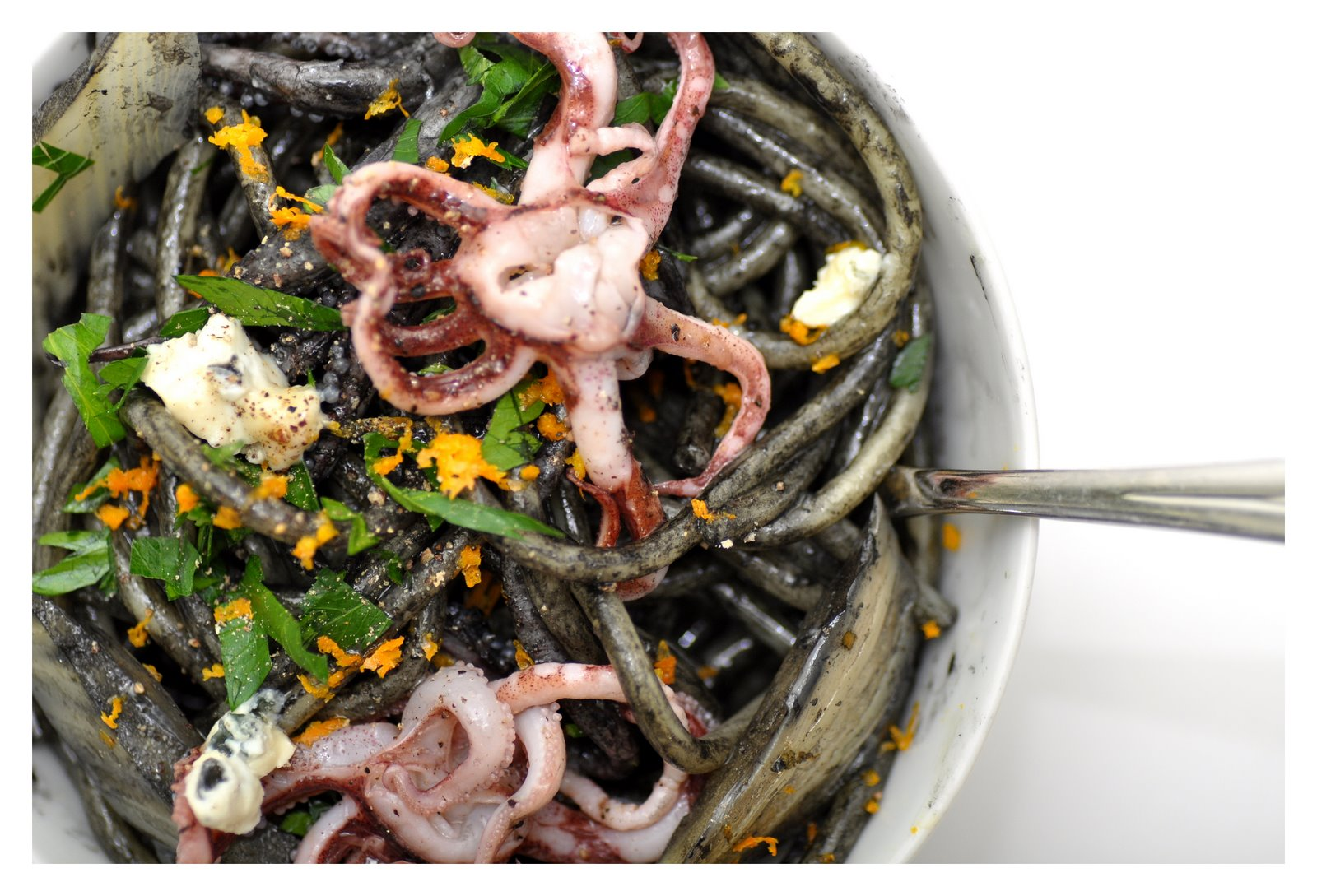 Pasta with Squid Ink, Orange-Braised Fennel and Tentacles