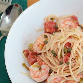 spaghetti with shrimp & capers