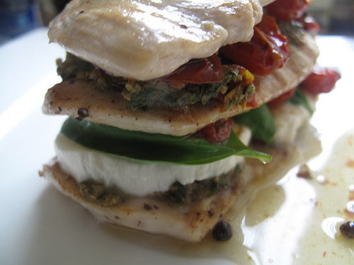 Chicken caprese millefeuille