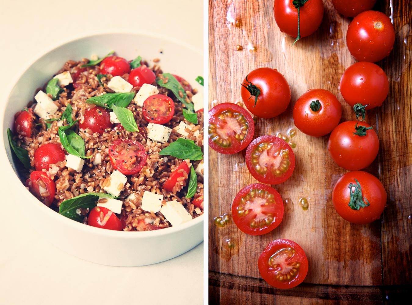 Warm Farro Salad with Cherry Tomatoes, Basil & Feta