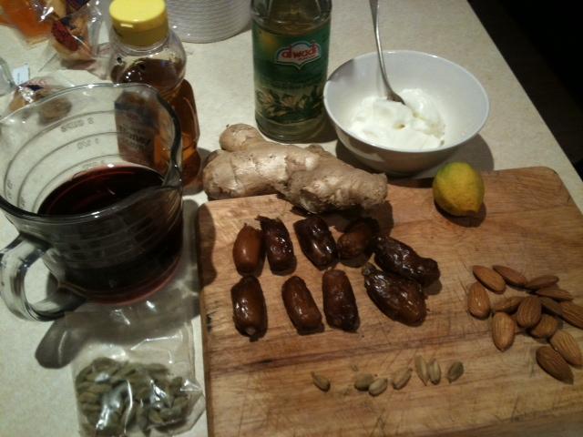 Cardamom & Red Wine Poached Dates with Orange Blossom Yoghurt