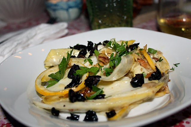 Endive Salad with Roasted Garlic, Walnuts and Oil Cured Olives with Meyer Lemon Cream