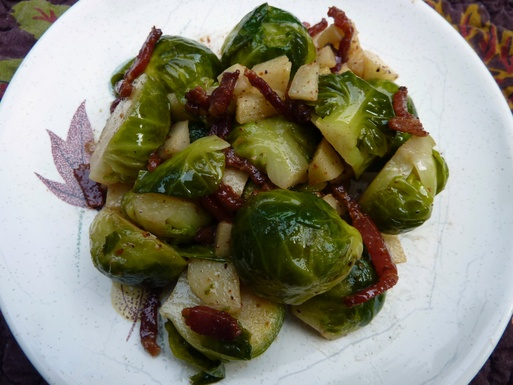 Glazed Brussels Sprouts and Apples in Browned Butter and Cream