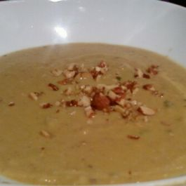 Acorn squash soup with chestnuts and coconut milk