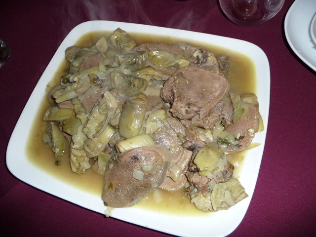 Beef Tongue with Artichokes Hearts