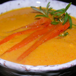Roasted carrot soup with Meyer lemon and rosemary