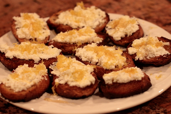 Bruschetta with Ricotta, Honey and Lemon Zest