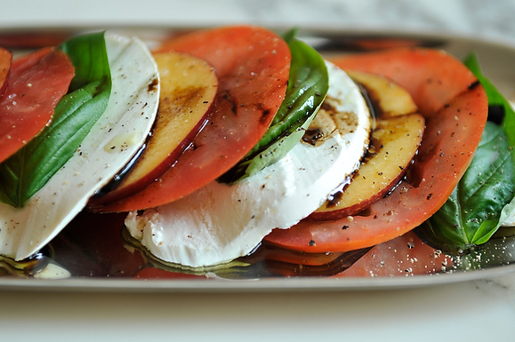 Tomato, Nectarine and Mozzarella Salad from Food52