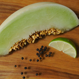 Fresh honeydew sorbet with lime and black pepper