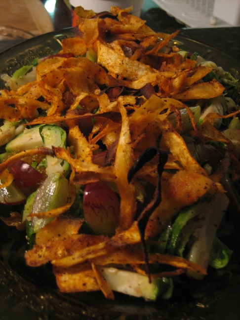 Warm Brussel Sprout Salad with Crispy Shaved Parsnip