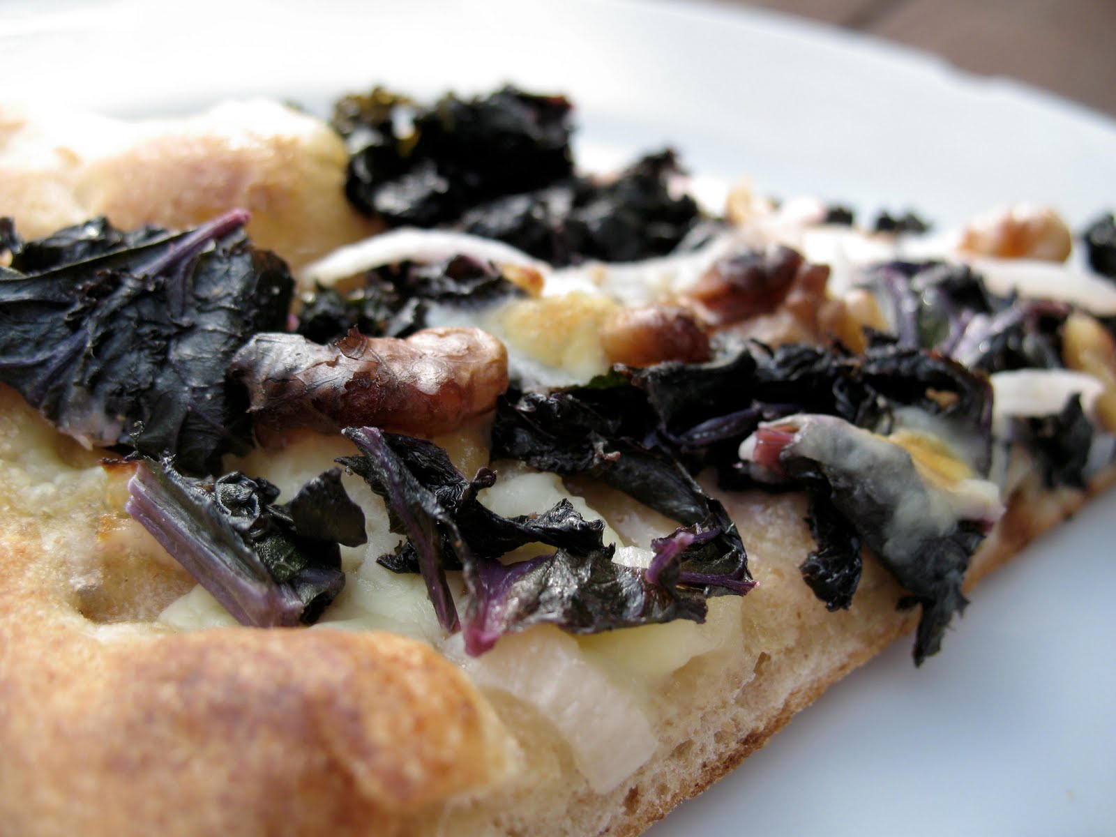 Kale Pizza with Blue Cheese and Walnuts