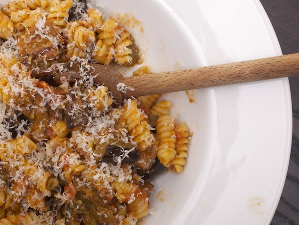 Eggplant, Mushroom, and Gorgonzola Cheese Pasta