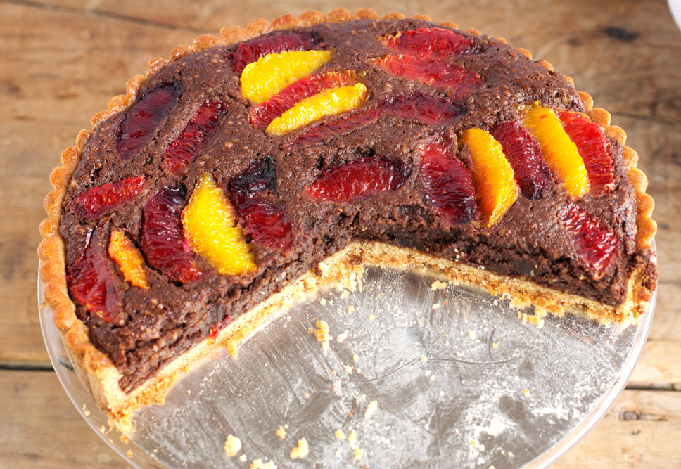 Blood Orange Chocolate Tart with Rye Flour Cardamom Crust