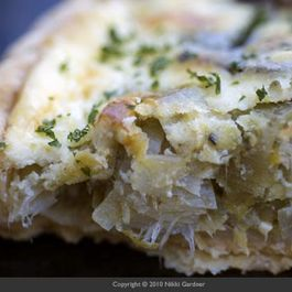Potato Leek Tart with Goat Cheese and Parsley Purée