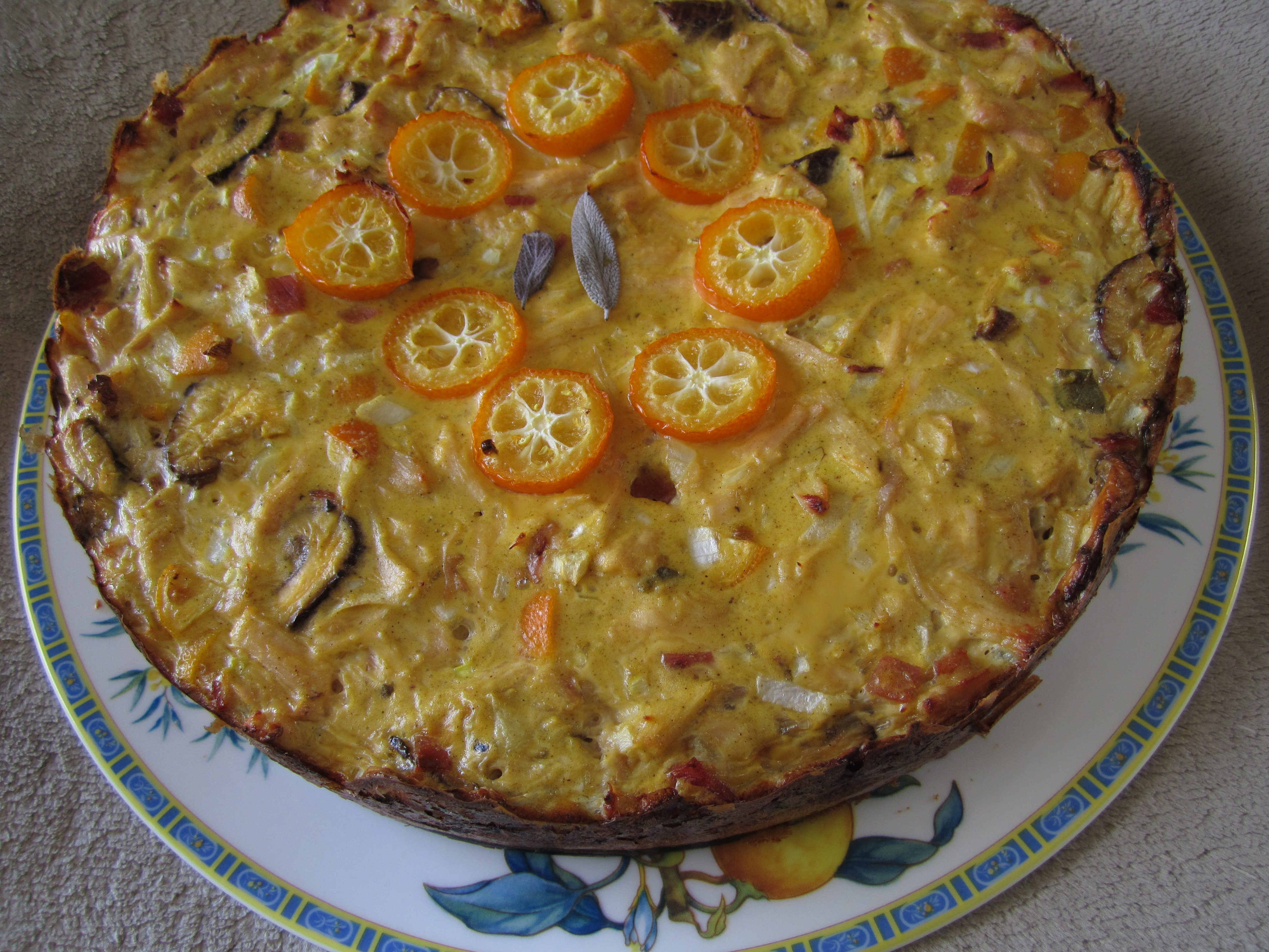 Leftover-Turkey Kumquat Shiitake Quiche